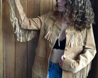 Vintage Leather Fringe Jacket/ Size: M