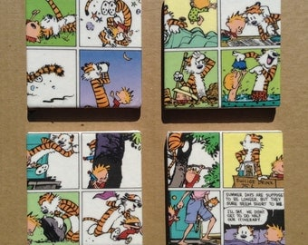 Set of Four Calvin and Hobbes Ceramic Coasters with Stand Decoupage Bar Drink