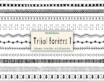 """Seamless Tribal Borders and Vectors - """"Tribal Borders 1"""" doodle, clipart"""