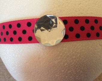 Pink and black polka dot headband