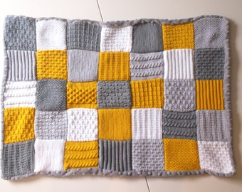 Knit Patchwork, Baby Blanket, Yellow Grey White