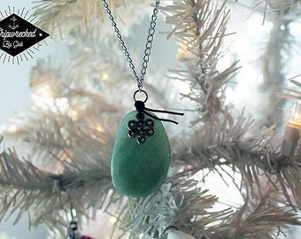 Smooth, green stone, with Celtic symbol on silver necklace! Handmade, one of a kind!