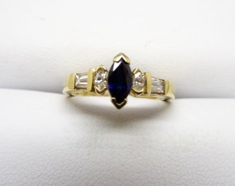 14K Yellow Gold Diamonds And Blue Sapphire Ring