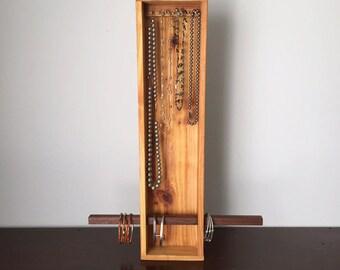 Tall Cedar Necklace / Bracelet holder storage display box