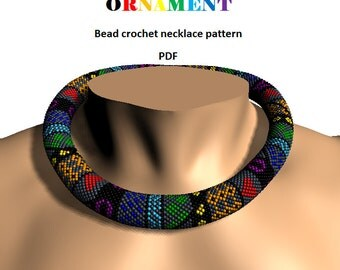 Rainbow Ornament patchwork necklace. Bead crochet rope pattern, PDF pattern, beaded necklace, bead crocheting, patchwork rope