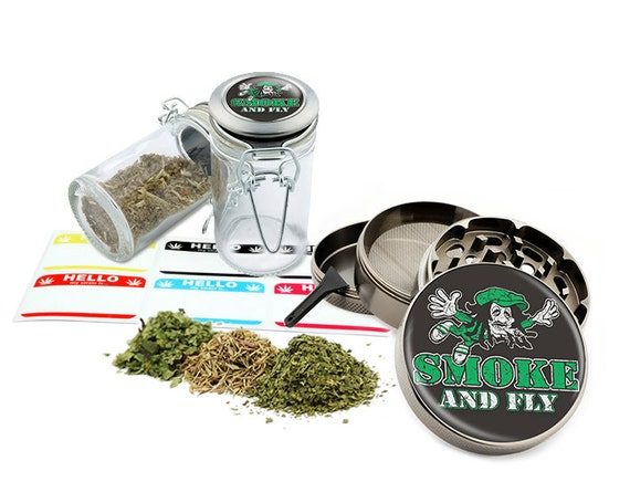 "Smoke And Fly - 2.5"" Zinc Alloy Grinder & 75ml Locking Top Glass Jar Combo Gift Set Item # G50-102215-3"
