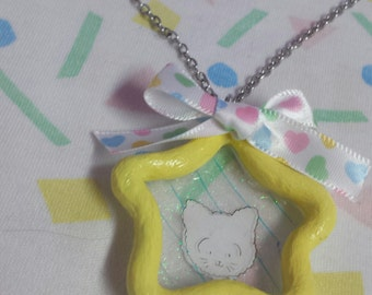 yellow baby kitty star necklace