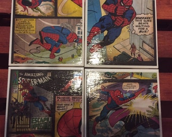 Spider-Man (superhero) Tile Coasters, set of 4