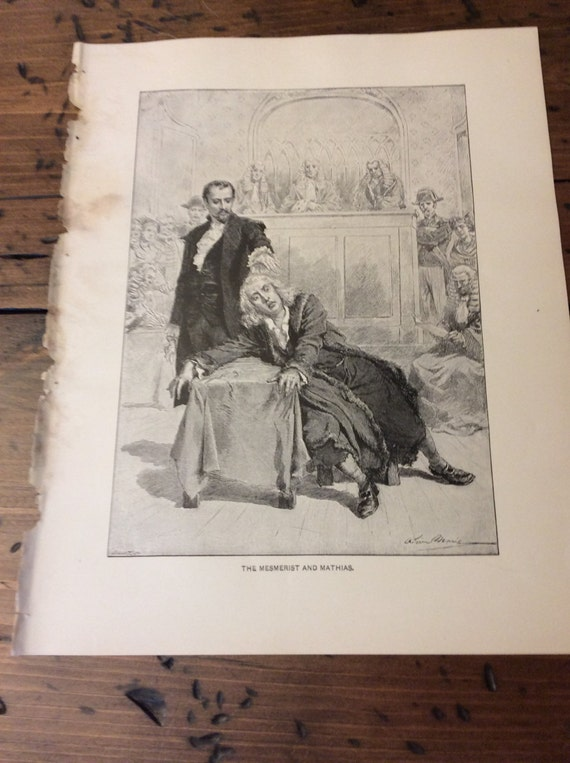 Antique Print - The Mesmerist and Mathias, Wood Engraving, The Bells by Leopold Lewis, 1892 Romance Fiction (B036)