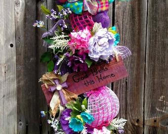 Summer Door Swag, Floral Swag, Swag, Door Wreath, God Bless this Home Wreath, Decorative Swag, Floral Arrangement, Door Decor, Wedding Gift