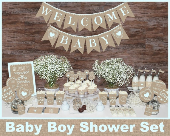 Rustic baby shower decorations printable boy baby shower for Baby shower decoration store
