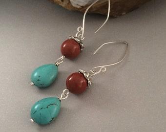 Jasper and Magnesite Dangle Earrings, Sterling Silver Handmade Earrings