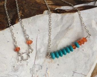 Sterling Silver Minimalist Necklace, Turquoise Howlite, Orange Jade