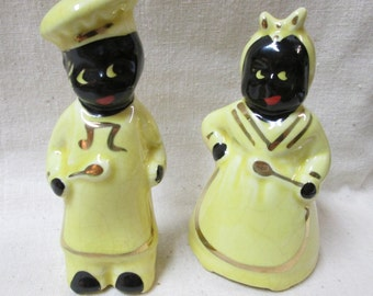 Vintage Pair of Black Americana Mammy and Chef Salt and Pepper Shakers