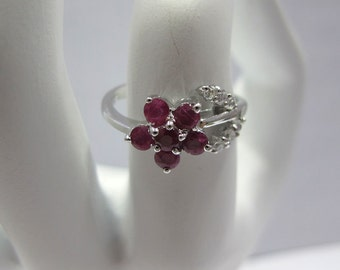 Red flower ring 925 sterling silver