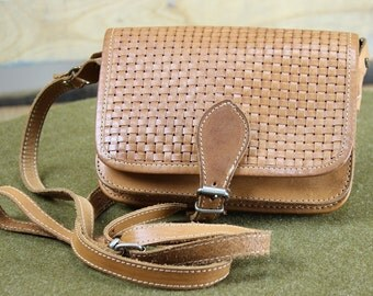 Tan Woven Leather Cross Body Bag