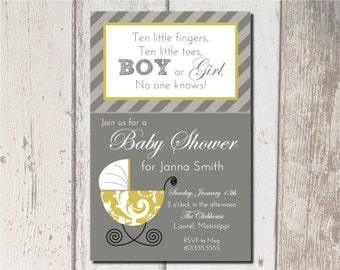 Printable Carriage Baby Shower Invitation PDF