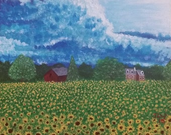 8x10 Sunflower fields at Liondale Farm in Unionville Giclee Print on 130lb Finch paper