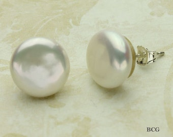 Coin Pearl Earrings, Pearl Post Earrings in Sterling Silver Stud Earrings