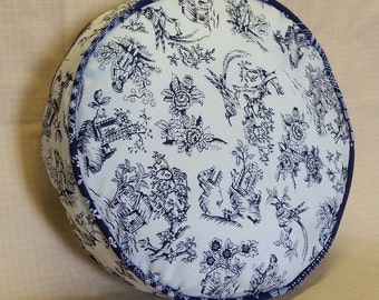 Claire Cushion- lined silk French toile, boxed-n-piped, concealed zipper, navy and sky blue, round.