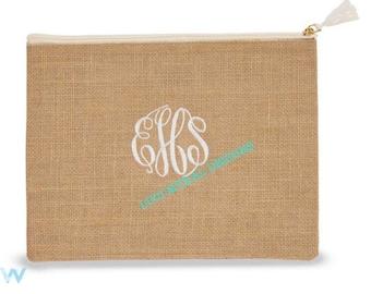 Solid Jute Carry-All Cosmetic Bag (mud-pie original)