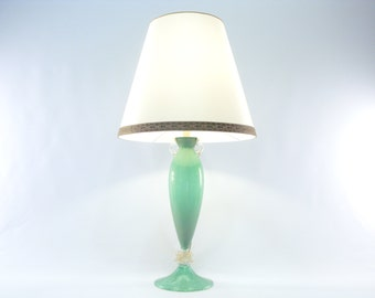 "Murano Glass Table Lamp ""Green Pulegoso"" and gold foil – Made in Italy"