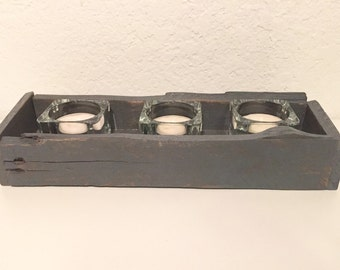 Small Wooden Box with Glass Candle Holders, Candle Holder, Rustic Box, Ready to Ship