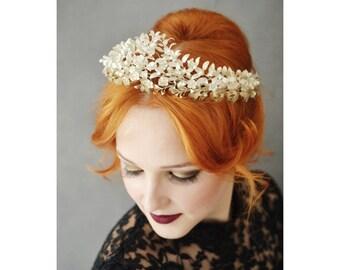 Big Antique Myrtle Bridal Crown Corsage, in original Glasdome 1880, 800 Silver Lapel Pin, German Wedding Headdress, Collectors Piece