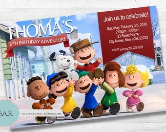 The Peanuts Movie Birthday Invitation/ Snoopy Birthday Invitation/ Snoopy Themed Party/ Invitacion
