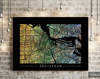 Amsterdam Map - City Street Map of Amsterdam Holland - Art Print Watercolor Illustration Wall Art Home Decor Gift - PRINT
