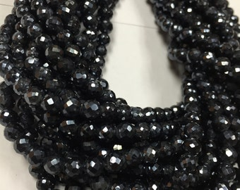 6 mm Black Spinel Round Faceted Beads, Black spinel  Faceted Balls, Length