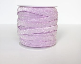 9mm Glitter Frosted Velvet Elastic Ribbon - By The Metre - Lilac