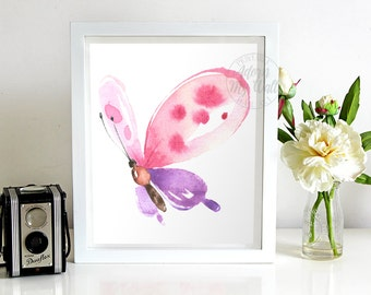 Pink butterfly, watercolor butterfly, painting, butterfly print, butterflies, wall art, butterfly art, watercolour, butterfly watercolour