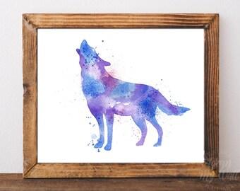 Wolf print, watercolor wolf, wolf wall art, wolf nursery art, wolf wall decor, wolf painting, wolf art, wolf printable, wolf watercolor