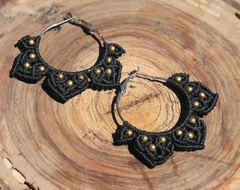 Macrame earrings hoops.