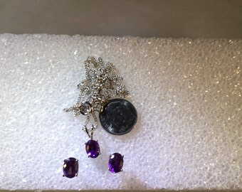 Necklace earring set African Amethyst