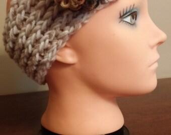 Tan and Cream headband/earwarmer