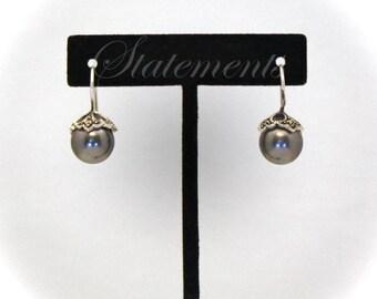 Earrings, Dark Gray Swarovski Pearls with Marcasite, Nickel-Free Sterling Silver SHJ-1026E