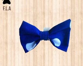 Pawsome Blue and White Polkadot dog Bow