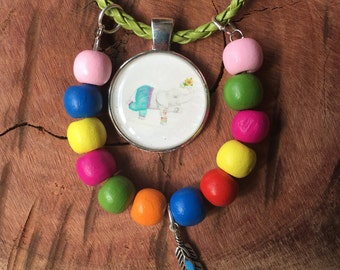 Ginger the Elephant necklace, children, jewellery, hippy, boho, colourful