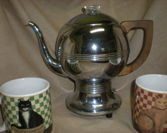 "CLEARANCE! Vintage 1940's General Electric Stainless Steel Percolator Coffee Pot ""Alladin's Lamp"" Style"
