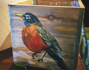 Painted Bird Planter