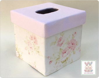 Shabby Cottage Chic TISSUE BOX COVER / Cottage Chic Box Kleenex Cover / Floral Tissue Box Cover / Baby Girl Nursery Decor