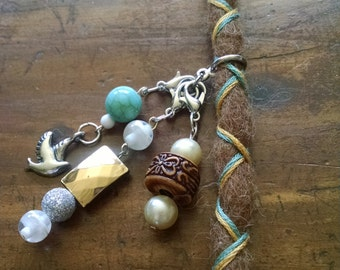 All Natural Alpaca Wool Dread with 3 interchangeable charms: Nature