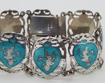 Vintage Siam Sterling Silver Enamel Bracelet~Rare