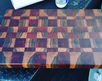 Walnut & Paduak end grain cutting board