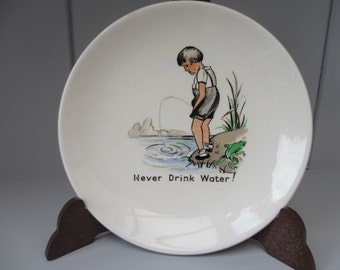 Vintage Retro Liverpool Road Pottery Ltd Pin Dish Plate Bathroom Humour - Never Drink Water!