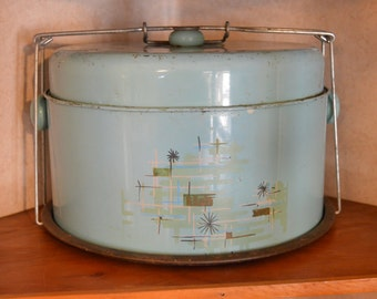 vintage cake carrier, retro cake container, cake carrier, blue cake carrier, metal cake carrier, kitchen decor, pie carrier,