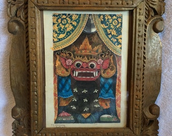 Handpainted art from Bali of a Barong