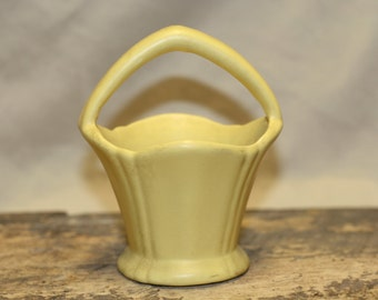 Yellow ware pottery basket